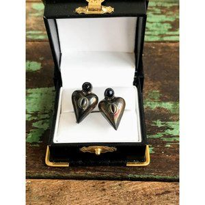 Vintage 925 Sterling Mexico Heart Earrings Onyx